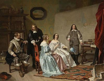 Painting - The Princess Of Orange Visiting The Work-shop Of Bartholomeus Van Der Helst by Hendrik Jacobus Scholten