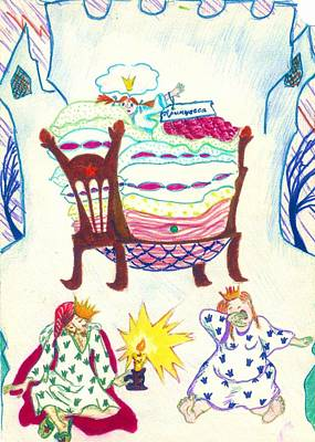 Drawing - The Princess On A Pea by Rae Chichilnitsky