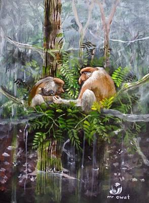The Probosis Monkey Family Art Print by Muyang Kumundan
