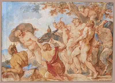 Drawing - The Procession Of Silenus by Charles-Joseph Natoire