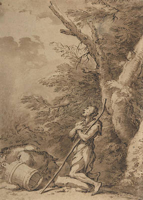 Drawing - The Prodigal Son Kneeling Repentant Among Swine by Salvator Rosa