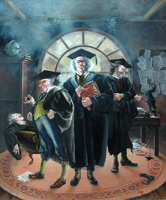 Painting - Gormenghast - The Professors by Carol Phenix