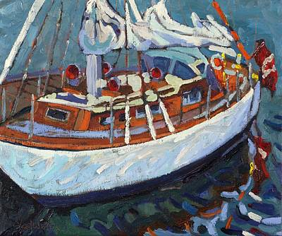 Painting - The Professor's Wooden Boat by Phil Chadwick