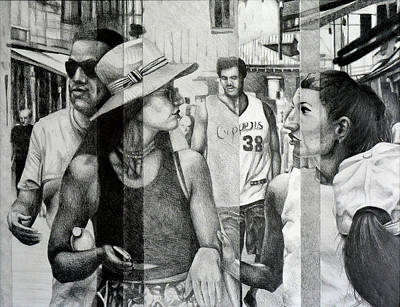 Chatting Friends Drawing - The Promenade, 2015, 50-65cm, Graphite Crayon On Paper by Oana Unciuleanu