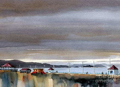Painting - the Promenade looking towards Killiney by Val Byrne