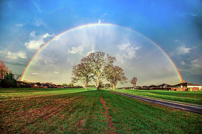 Print featuring the photograph The Promise - Suburban Rainbow by Gregory Ballos