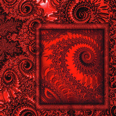 Abstract Digital Digital Art - The Proper Victorian In Red  by Wendy J St Christopher