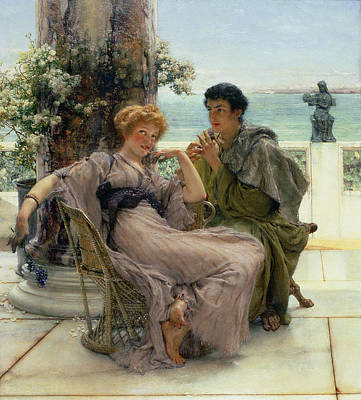 Boyfriend Painting - The Proposal by Sir Lawrence Alma Tadema