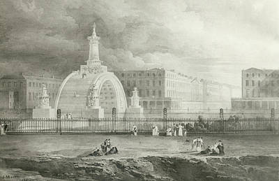Arch Drawing - The Proposed Triumphal Arch From Portland Place To Regent's Park, 1820  by John Martin