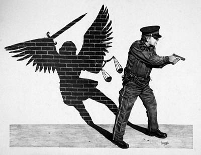 Police Angels Drawing - The Protector by Duncan  Way