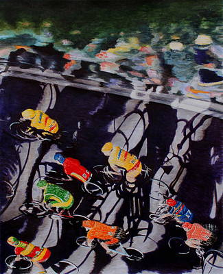 Spectators Mixed Media - The Protest Stage At The Tour De France by Adrian Jones