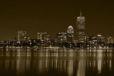 Photograph - The Pru Lit Up In Red Sepia by Toby McGuire