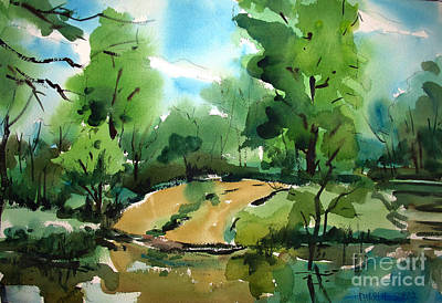 Ramp Painting - The Public Access Boat Ramp On The Little Mississinewa River Matted Glassed Framed by Charlie Spear