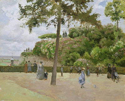 Townscape Painting - The Public Garden At Pontoise by Camille Pissarro