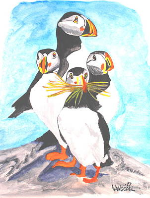 D Wade Art Painting - The Puffins Family - Watercolor by Scott D Van Osdol