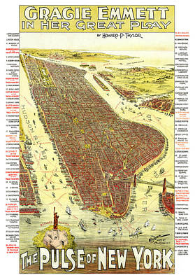 Old Map Painting - The Pulse Of New York - 1891 by Pablo Romero