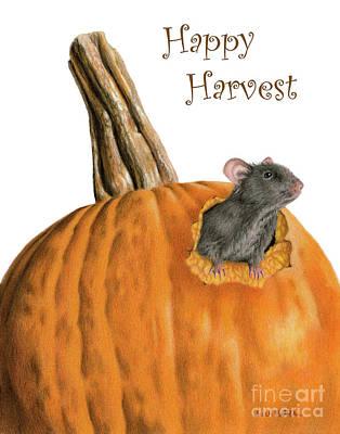 Niagra Falls Drawing - The Pumpkin Carver- Happy Harvest Cards by Sarah Batalka