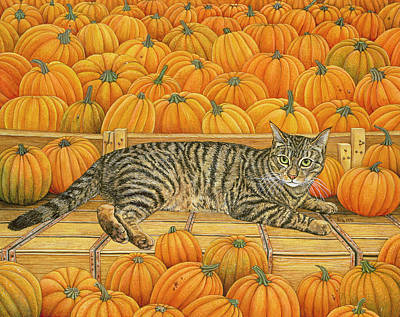 Pussy Painting - The Pumpkin Cat by Ditz