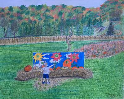 Drawing - The Pumpkin Patch  by Tony Clark