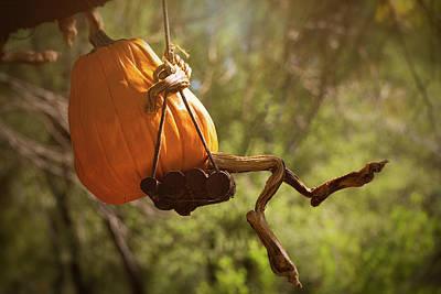 Photograph - The Pumpkinman On A Swing  by Saija Lehtonen