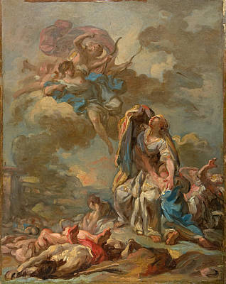 Niobe Painting - The Punishment Of The Arrogant Niobe By Diana And Apollo by Pierre-Charles Jombert