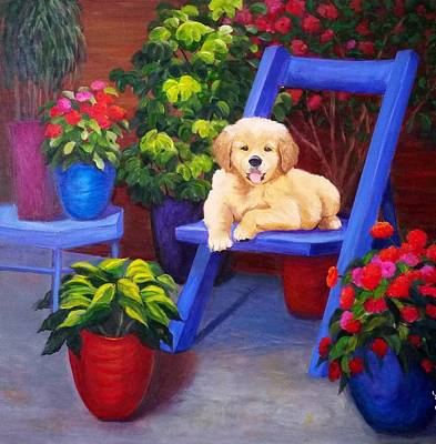 The Puppy In The Garden Art Print