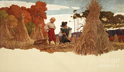 The Puritan Corn Husker Print by Newell Convers Wyeth