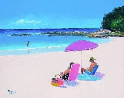 City Lights - The purple beach umbrella by Jan Matson