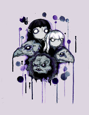 Crystals Wall Art - Drawing - The Purple Shard by Ludwig Van Bacon