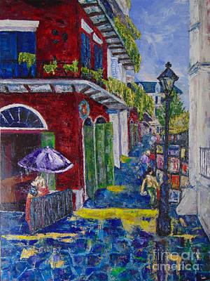 Painting - The Purple Umbrella        Pirates Alley by Beverly Boulet
