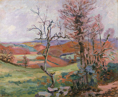 Oil Landscape Painting - The Puy Barion At Crozant by Jean Baptiste Armand Guillaumin