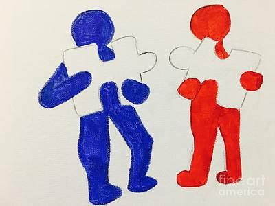 Drawing - The Puzzles People  by Charita Padilla