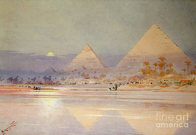 Reflecting Sunset Painting - The Pyramids At Dusk by Augustus Osborne Lamplough