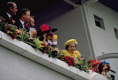 Travel Pics Royalty-Free and Rights-Managed Images - The Queen at Derby Day 1988 by Travel Pics