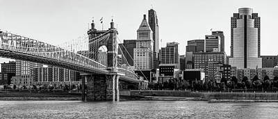 Photograph - The Queen City Panoramic - Cincinnati Skyline - Black And White by Gregory Ballos