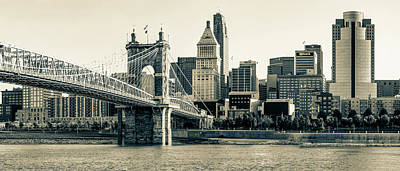 Photograph - The Queen City Panoramic - Cincinnati Skyline - Sepia by Gregory Ballos