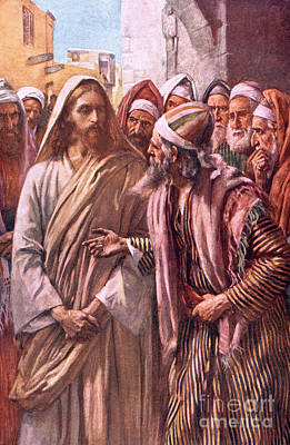 Jesus Christ Drawing - The Question Of The Sadducees by Harold Copping