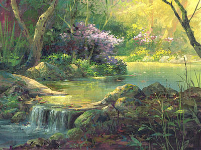 Waterfalls Painting - The Quiet Creek by Michael Humphries