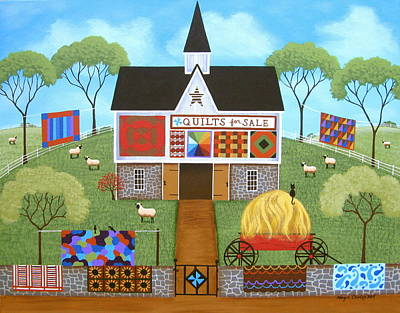 Barn Landscape Painting - The Quilt Barn by Mary Charles