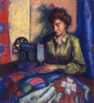 Sewing Machine Painting - The Quilter by Ellen Dreibelbis