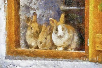 Potter Painting - The Rabbit Window By Sarah Kirk by Sarah Kirk