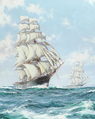 Calming The Storm Painting - The Race Between Taeping And Ariel - Detail by Montague Dawson
