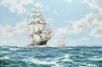 Water Vessels Painting - The Race Between Taeping And Ariel by Montague Dawson