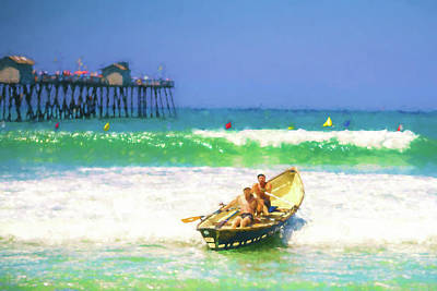 Row Boat Digital Art - The Race Is On Lifeboat Race Watercolor by Scott Campbell