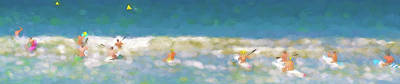 Digital Art - The Race Is On Sea Kayak Racing Panorama Watercolor by Scott Campbell
