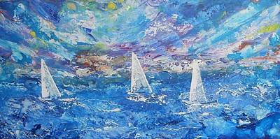 Yacht Mixed Media - The Race by Linda Bartlett
