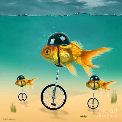 Gold Fish Painting - The Race  by Mark Ashkenazi