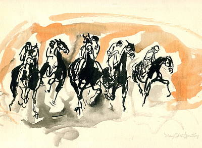 Art Print featuring the drawing The Race by Mary Armstrong