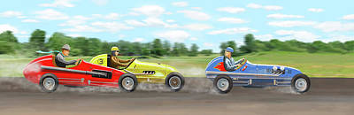 Print featuring the digital art The Racers by Gary Giacomelli