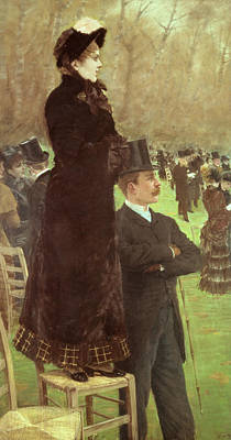 Triptych Painting - The Races At Auteuil by Joseph de Nittis
